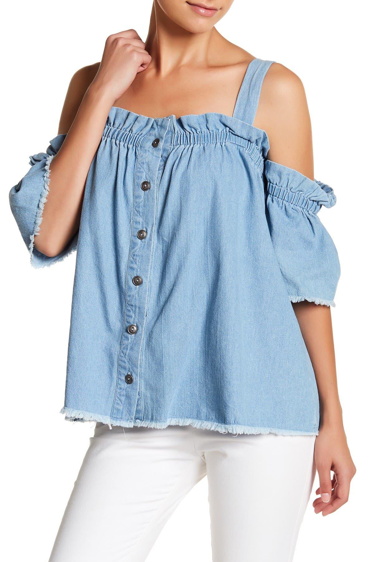 Image of TOV Cold Shoulder Denim Shirt