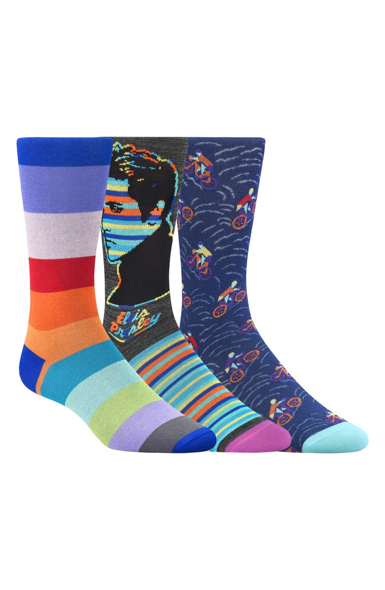 BUGATCHI 3-Pack Sock Gift Set, Main, color, ORCHID