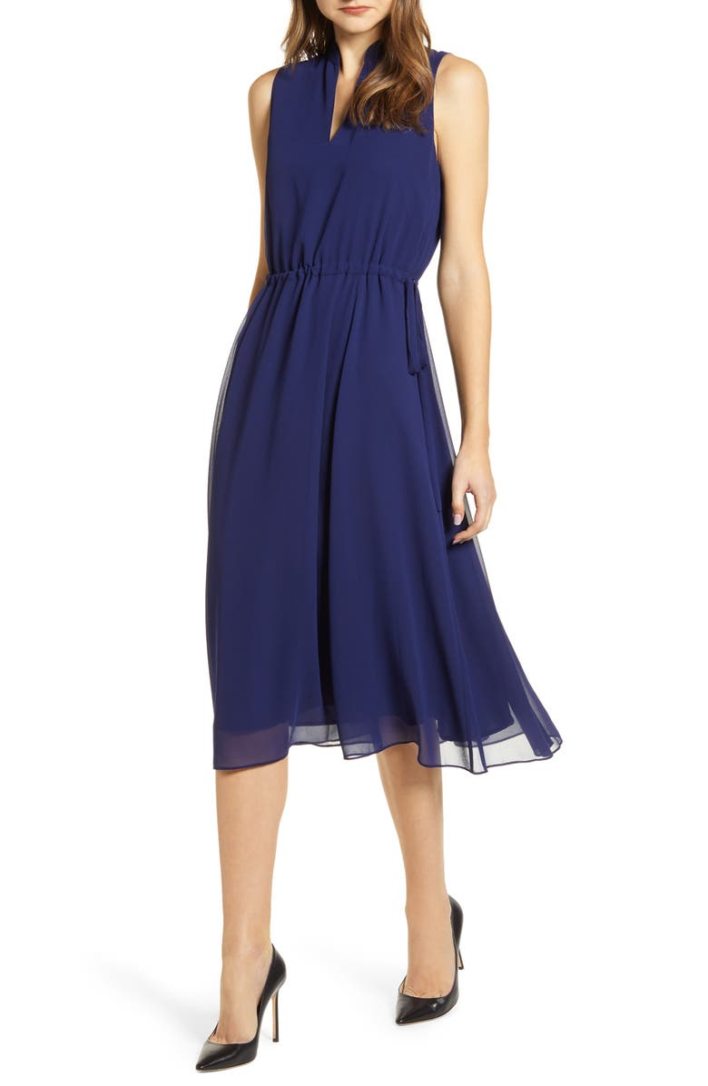 ANNE KLEIN Drawstring Chiffon Midi Dress, Main, color, DISTANT MOUNTAIN