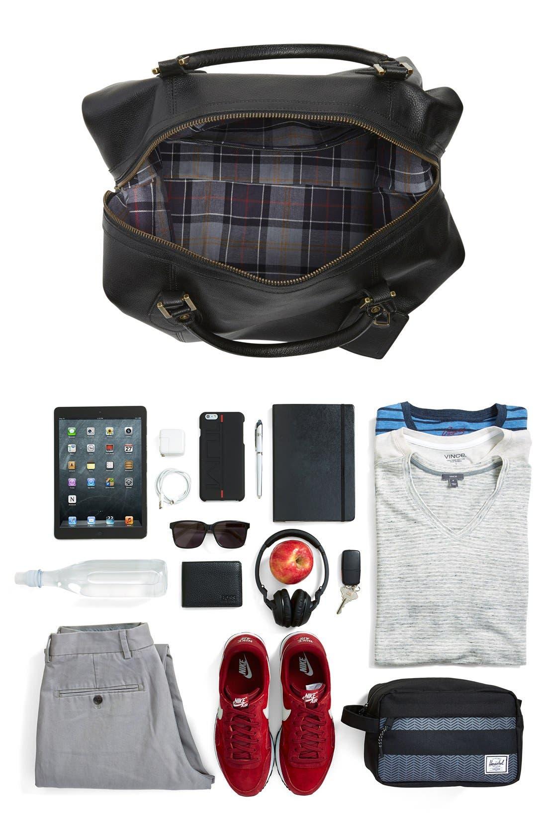 ,                             Leather Duffle Bag,                             Alternate thumbnail 4, color,                             BLACK