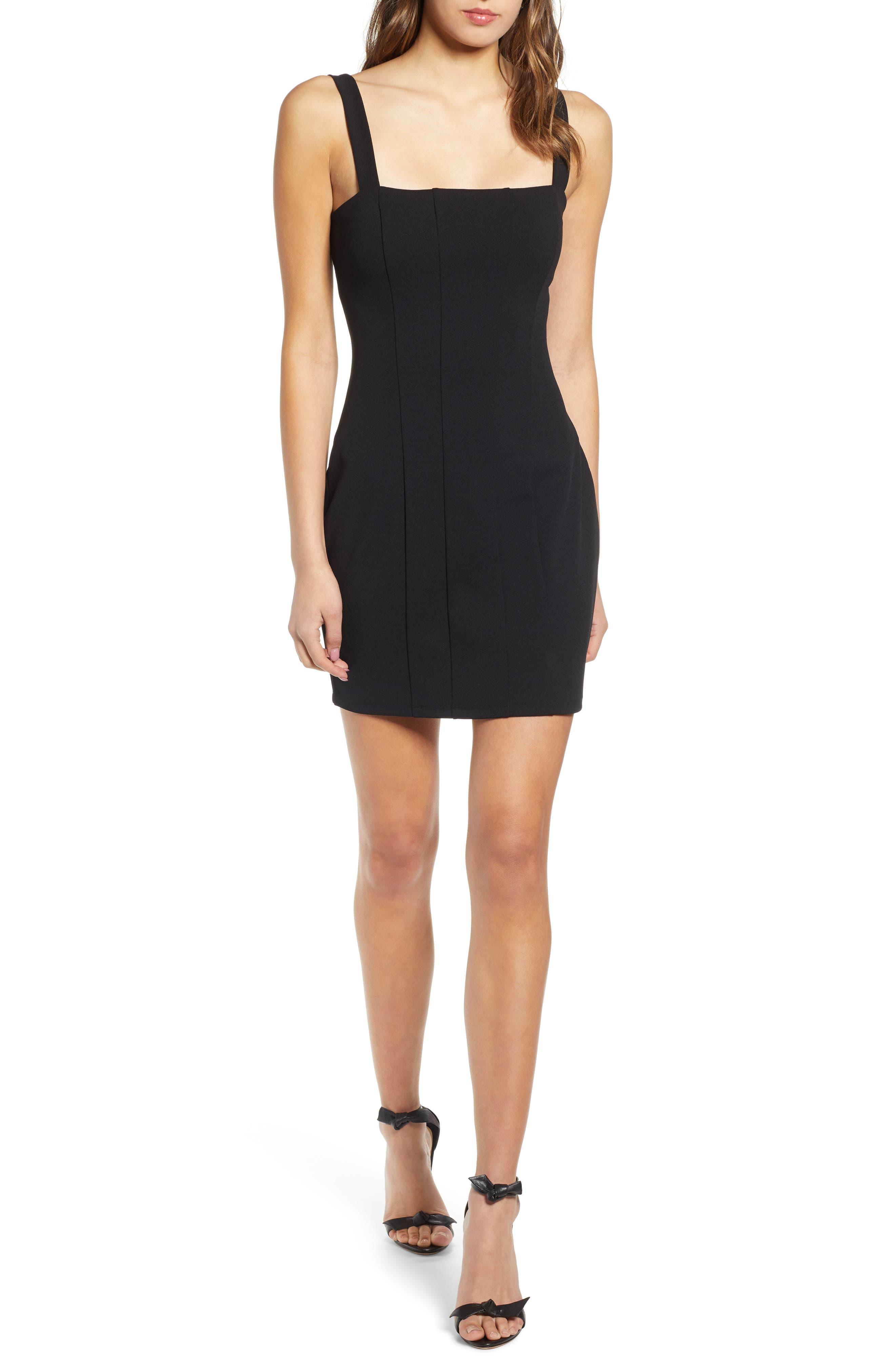 ,                             Seamed Body-Con Dress,                             Main thumbnail 1, color,                             BLACK