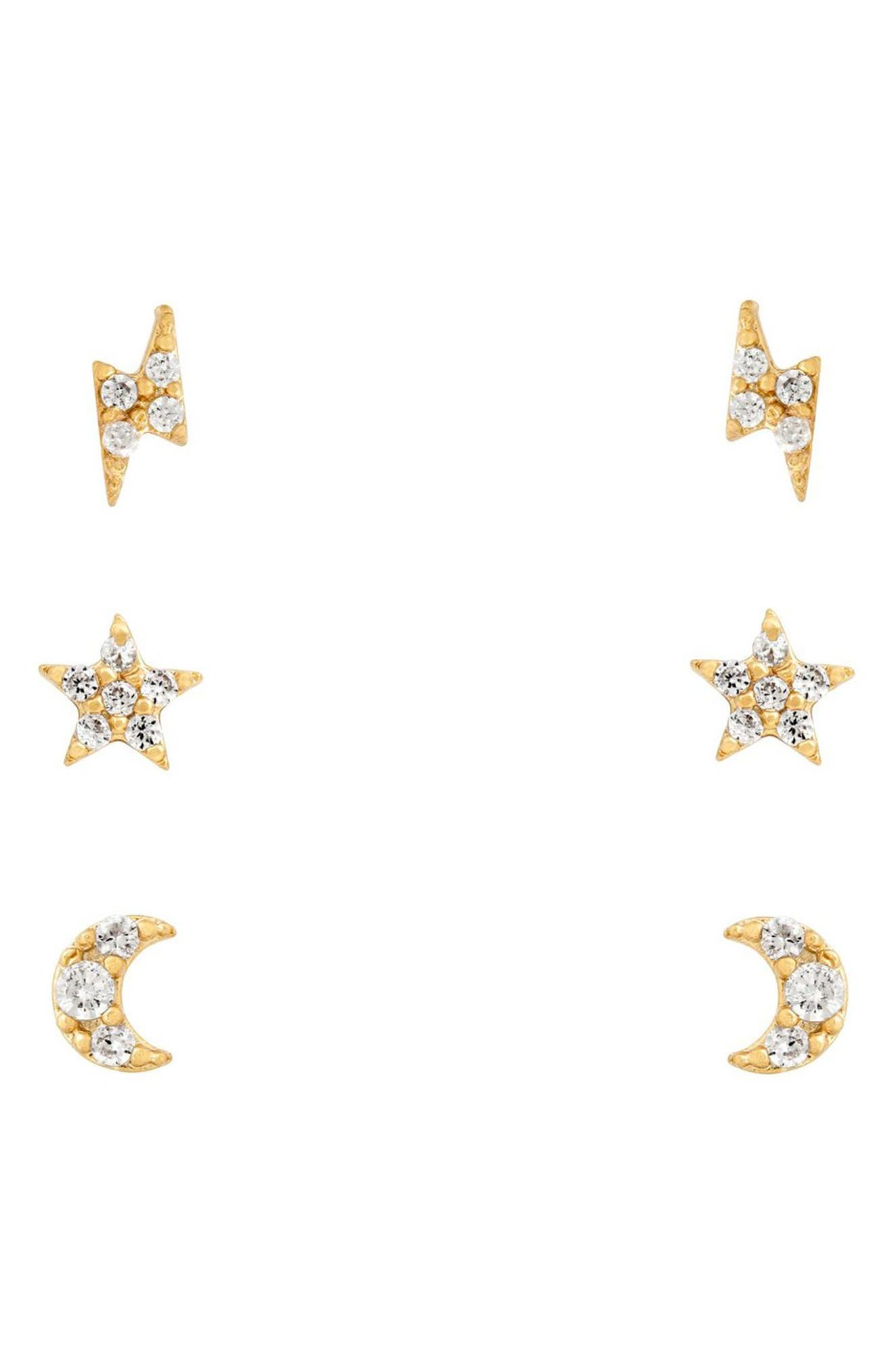Teeny Tiny Galaxy Set Of 3 Pairs Stud Earrings