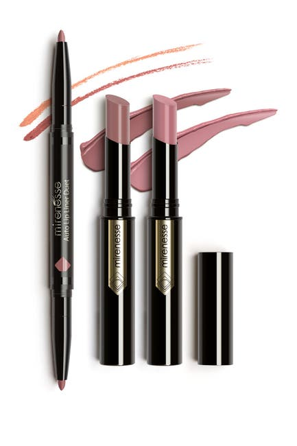 Image of Mirenesse Cocktails at 7 3-Piece French Kiss Warm Nude Glossy Kit