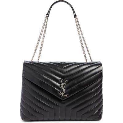 Saint Laurent Large Loulou Matelasse Leather Shoulder Bag - Black