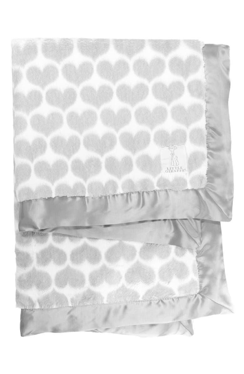 LITTLE GIRAFFE Luxe<sup>™</sup> Heart Army Faux Fur Baby Blanket, Main, color, SILVER
