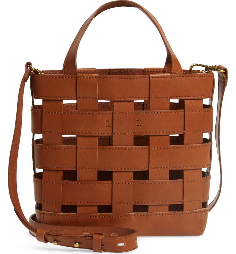 MADEWELL Small Transport Basketweave Leather Crossbody Bag, Main, color, 200