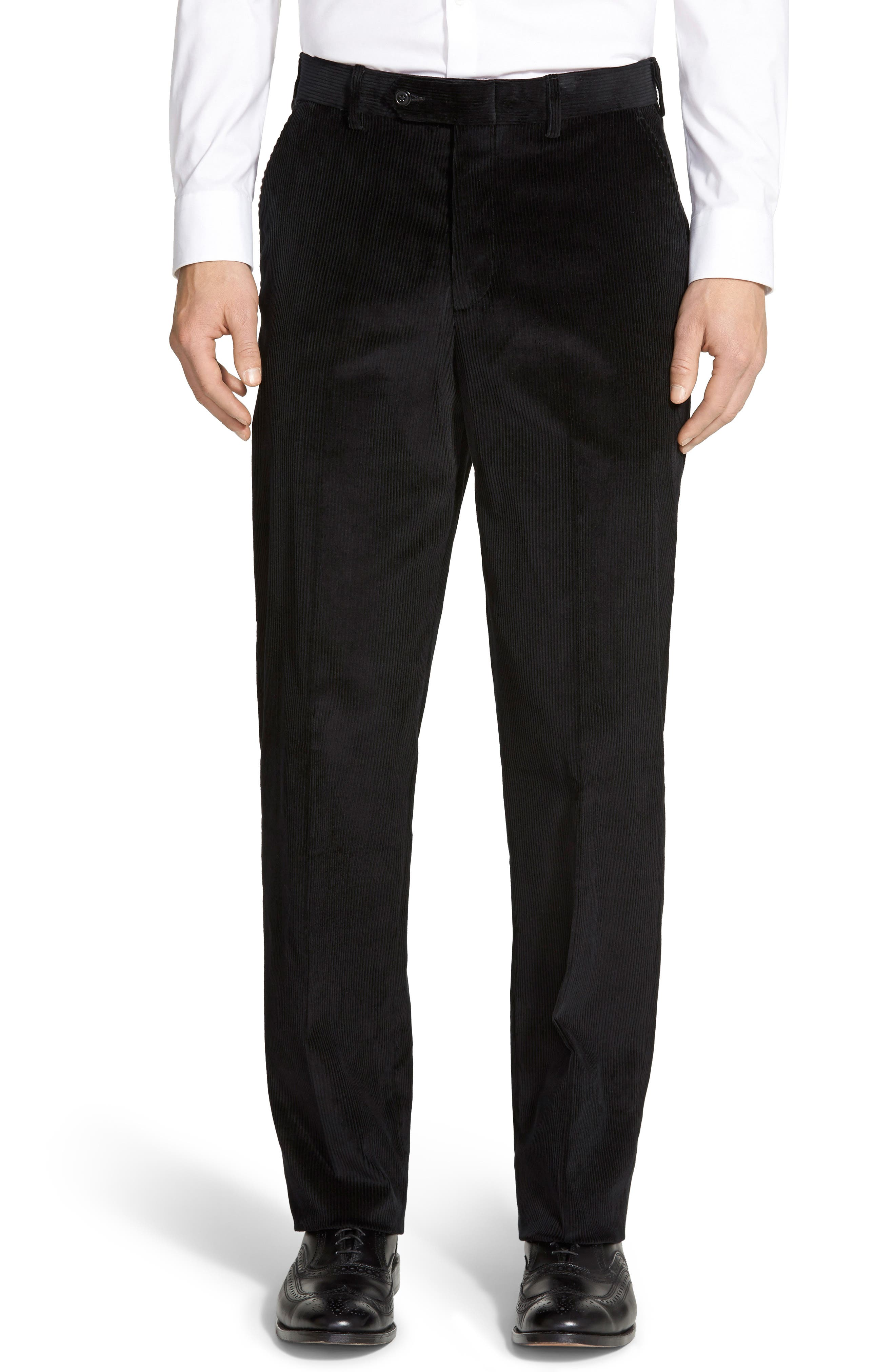 Flat Front Classic Fit Corduroy Trousers