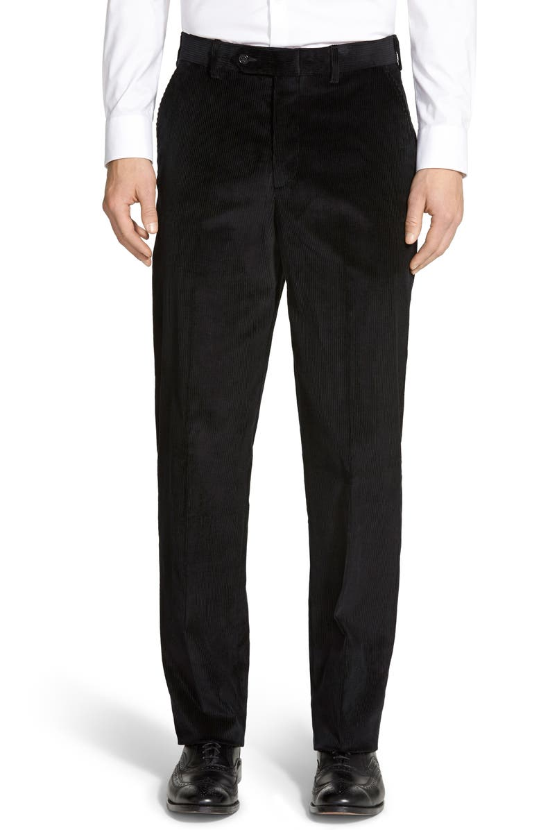 BERLE Flat Front Classic Fit Corduroy Trousers, Main, color, BLACK