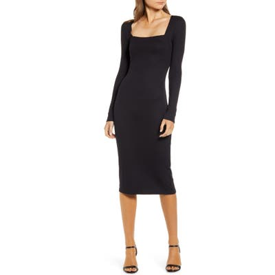 Chelsea28 Ribbed Long Sleeve Midi Dress, Black