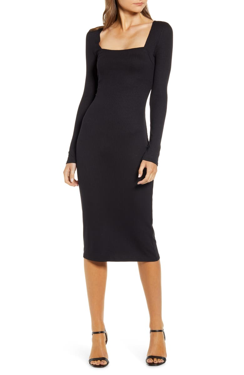 CHELSEA28 Ribbed Long Sleeve Midi Dress, Main, color, BLACK