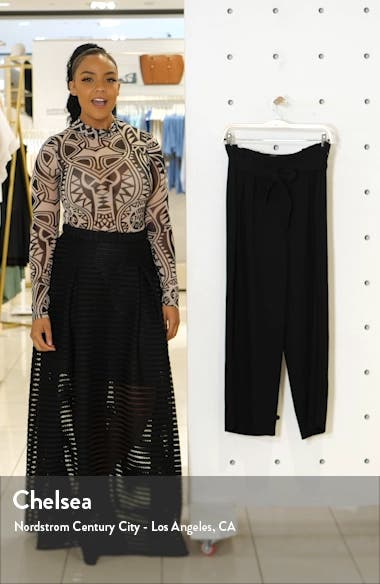 Paperbag Waist Wide Leg Matte Crepe Trousers, sales video thumbnail