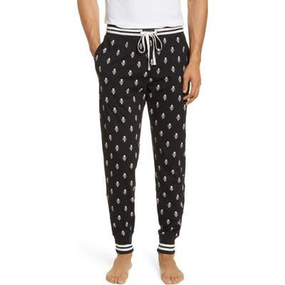 Polo Ralph Lauren Skull Print Flannel Jogger Pajama Bottoms, Black