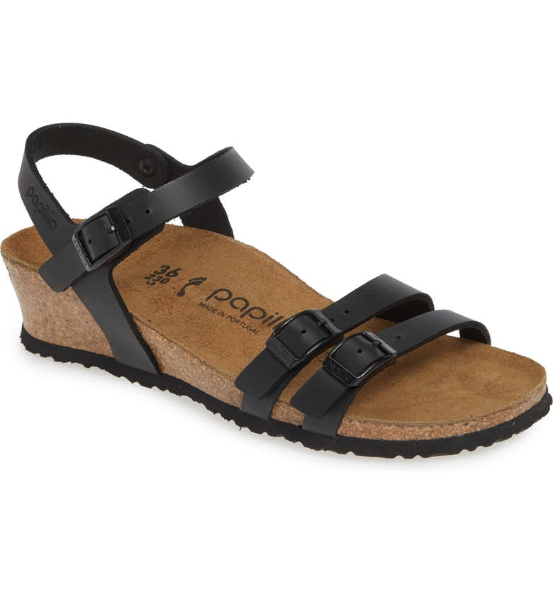 BIRKENSTOCK Papillio by Birkenstock Lana Sandal, Main, color, BLACK LEATHER