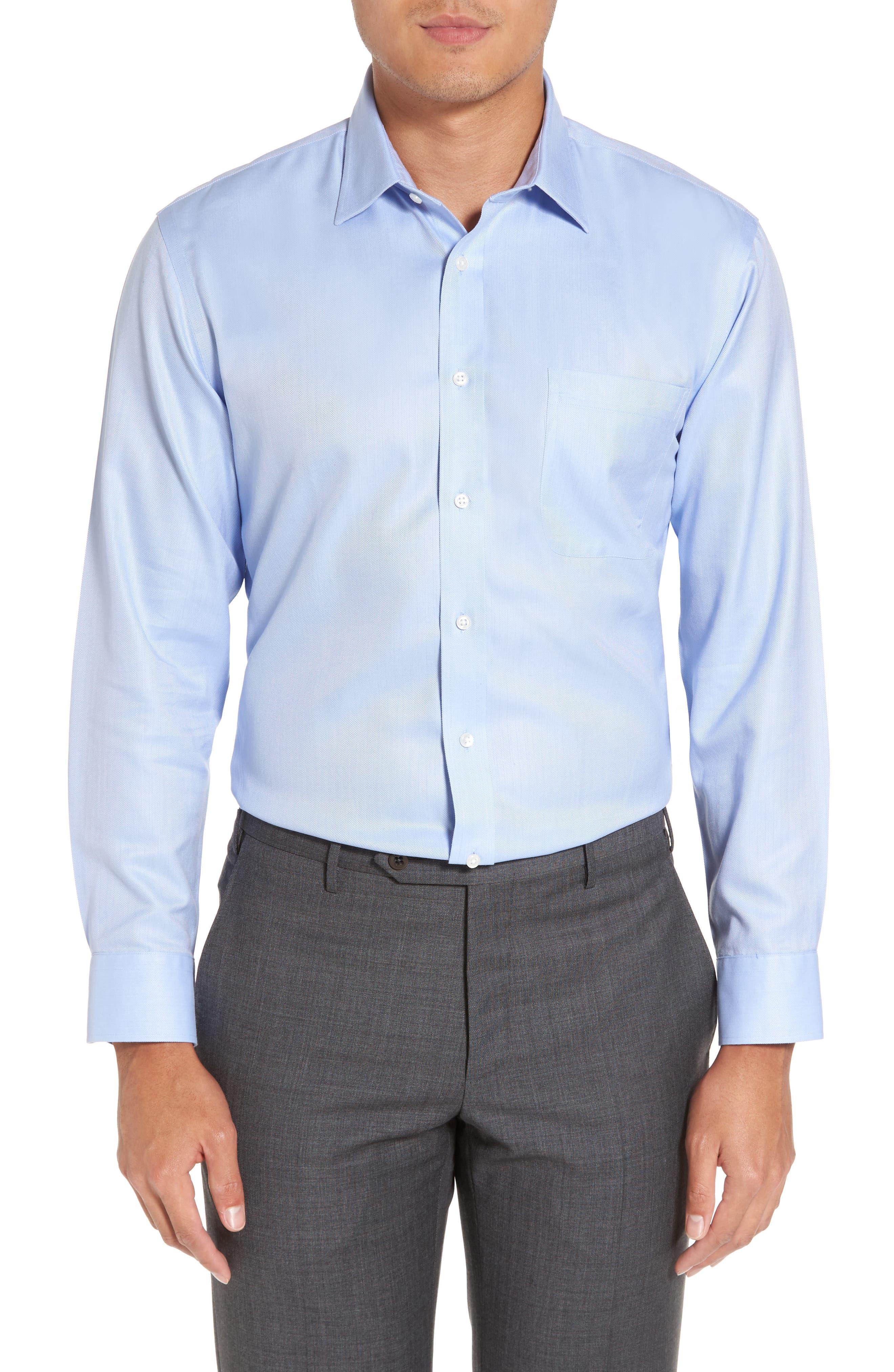 Nordstrom Shop Smartcare(TM) Trim Fit Herringbone Dress Shirt