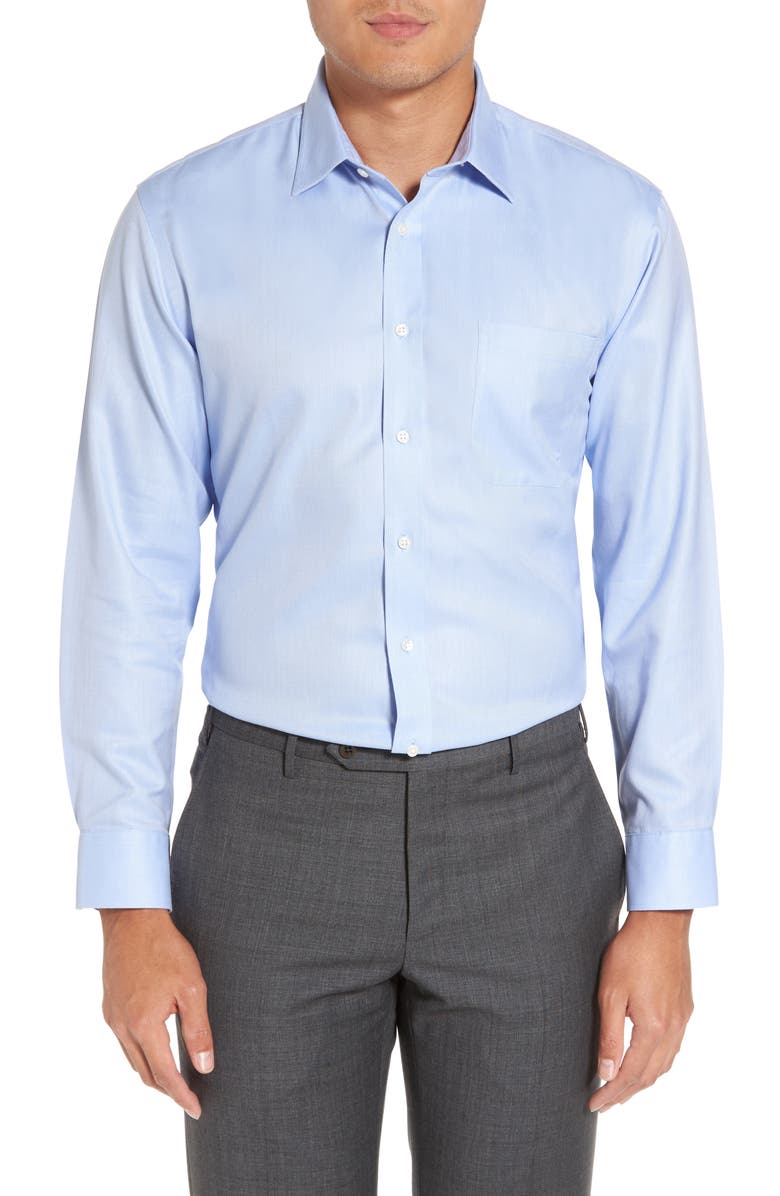 NORDSTROM MEN'S SHOP Nordstrom Mens Shop Smartcare<sup>™</sup> Trim Fit Herringbone Dress Shirt, Main, color, BLUE