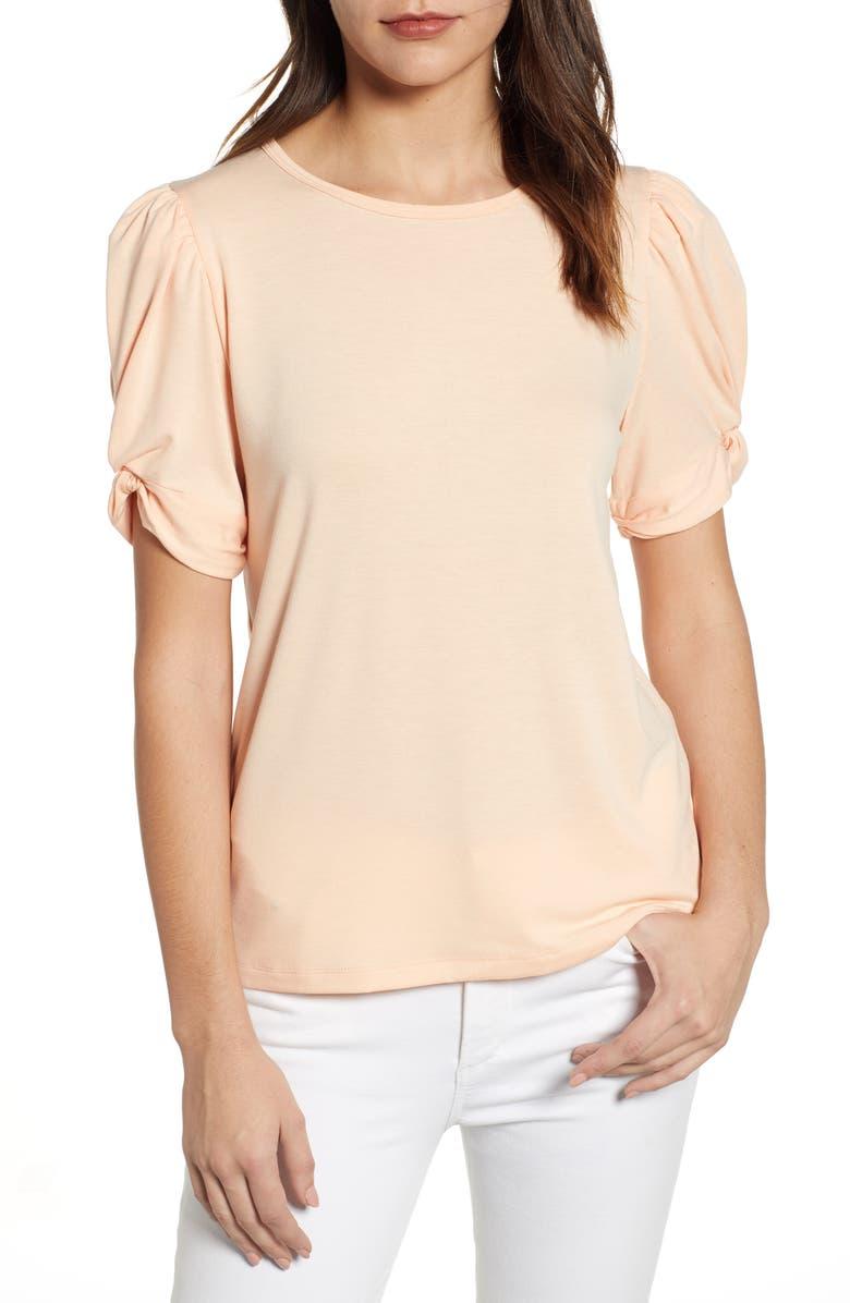BOBEAU Corbin Puff Sleeve Shirt, Main, color, PEACH PARFAIT