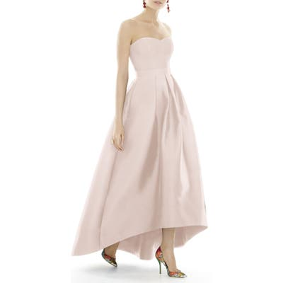 Plus Size Alfred Sung Strapless High/low Satin Twill Ballgown, Pink