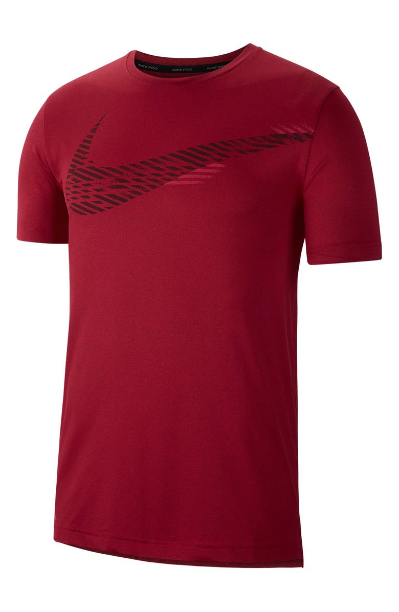 NIKE Pro Dri-FIT Training T-Shirt, Main, color, BLACK/ NOBLE RED/ HEATHER
