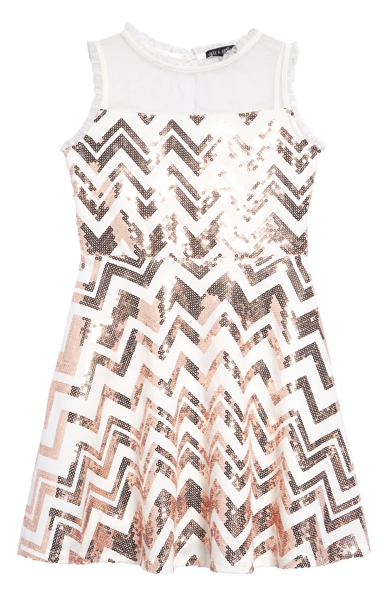 AVA & YELLY Zigzag Sequin Illusion Neck Dress, Main, color, IVORY/ BLUSH