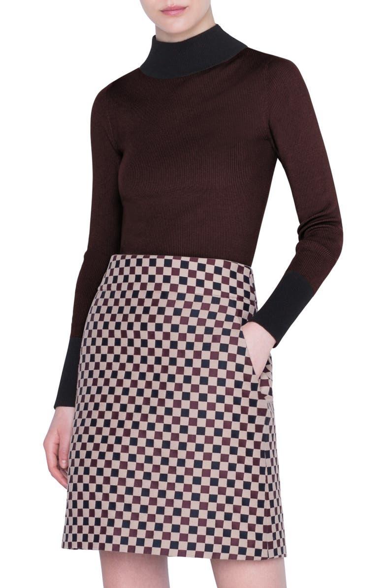 AKRIS PUNTO Bicolor Wool Sweater, Main, color, BURGUNDY BLACK