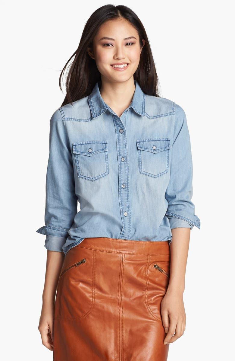 HALOGEN<SUP>®</SUP> Western Chambray Shirt, Main, color, 400
