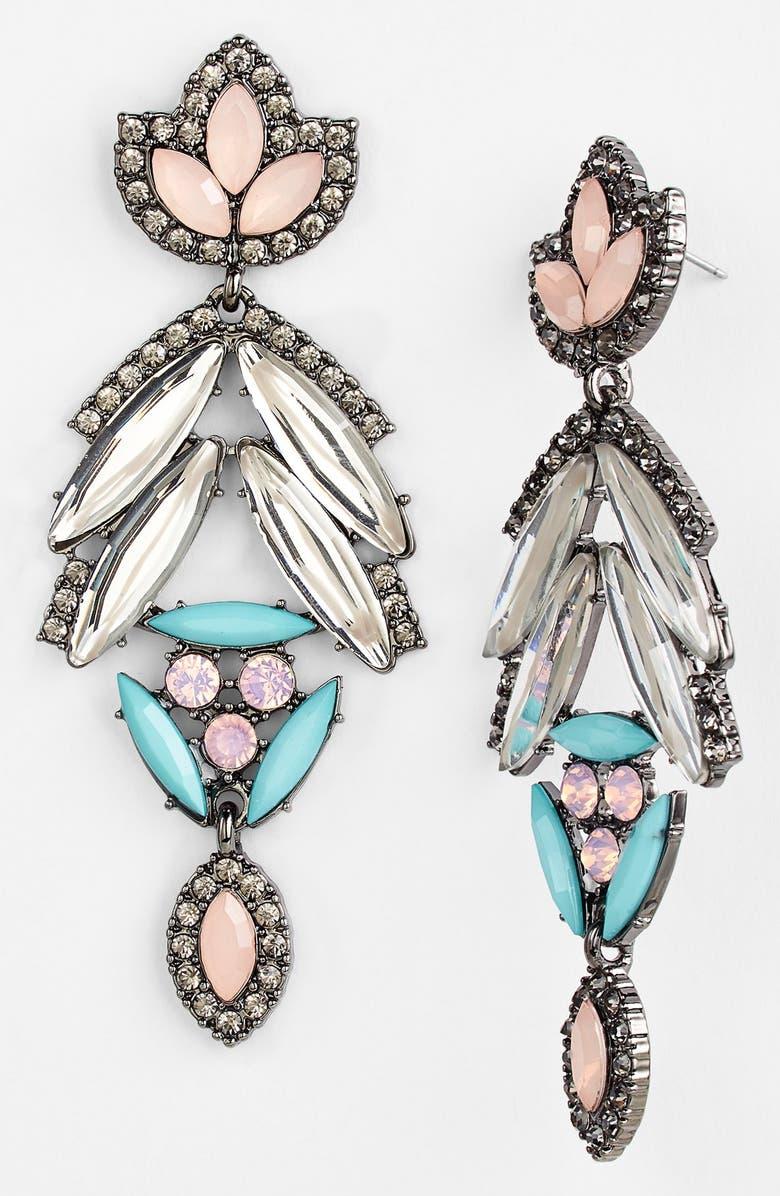BERRY Pastel Crystal Deco Leaf Drop Earrings, Main, color, 960