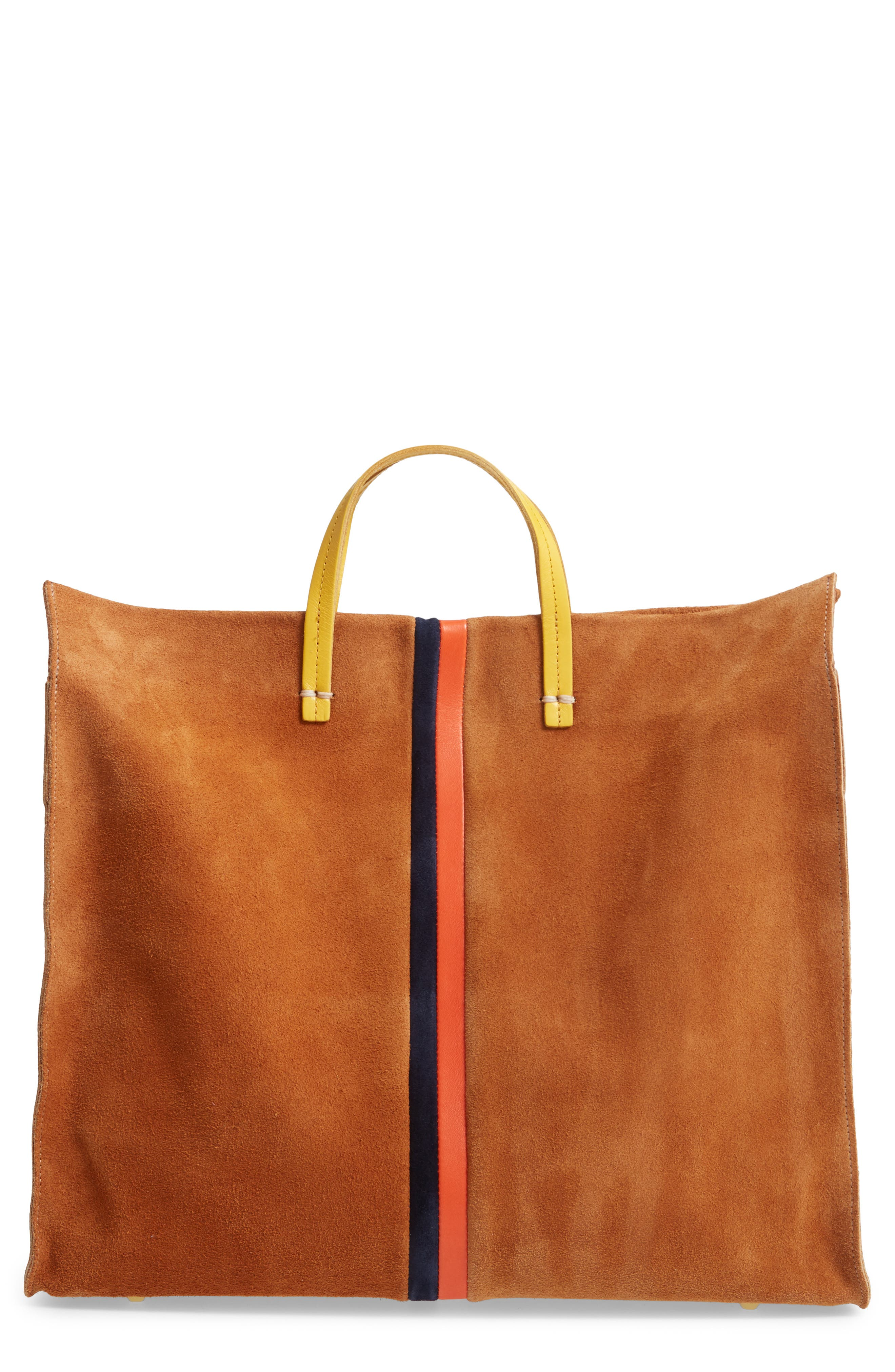 ,                             Simple Leather Tote,                             Main thumbnail 1, color,                             CAMEL/ NAVY RED STRIPES