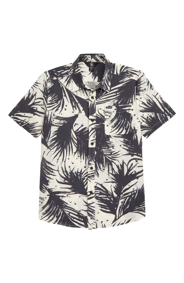 VOLCOM Mas Palmas Button-Up Shirt, Main, color, WHITE FLASH