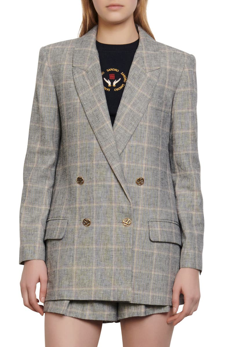 SANDRO Beyane Double Breasted Plaid Blazer, Main, color, 062