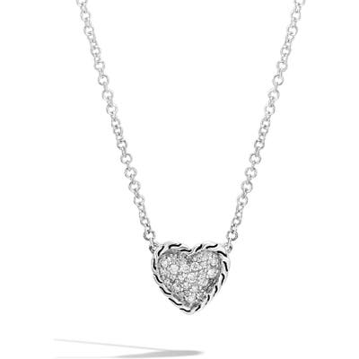 John Hardy Chain Classic Pave Diamond Heart Pendant Necklace