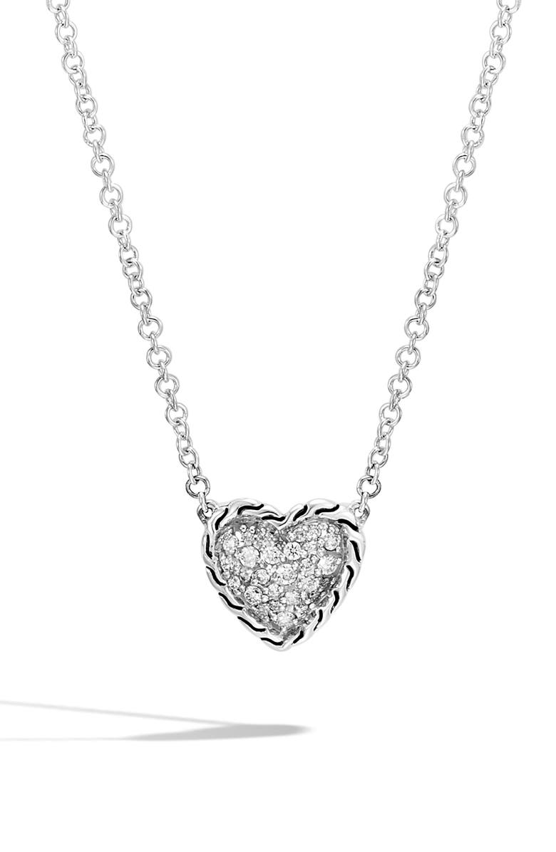 JOHN HARDY Chain Classic Pavé Diamond Heart Pendant Necklace, Main, color, SILVER/ DIAMOND