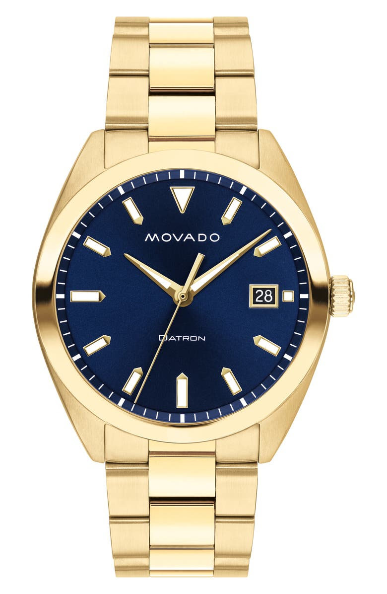 MOVADO Heritage Bracelet Watch, 39mm, Main, color, GOLD/ NAVY/ GOLD