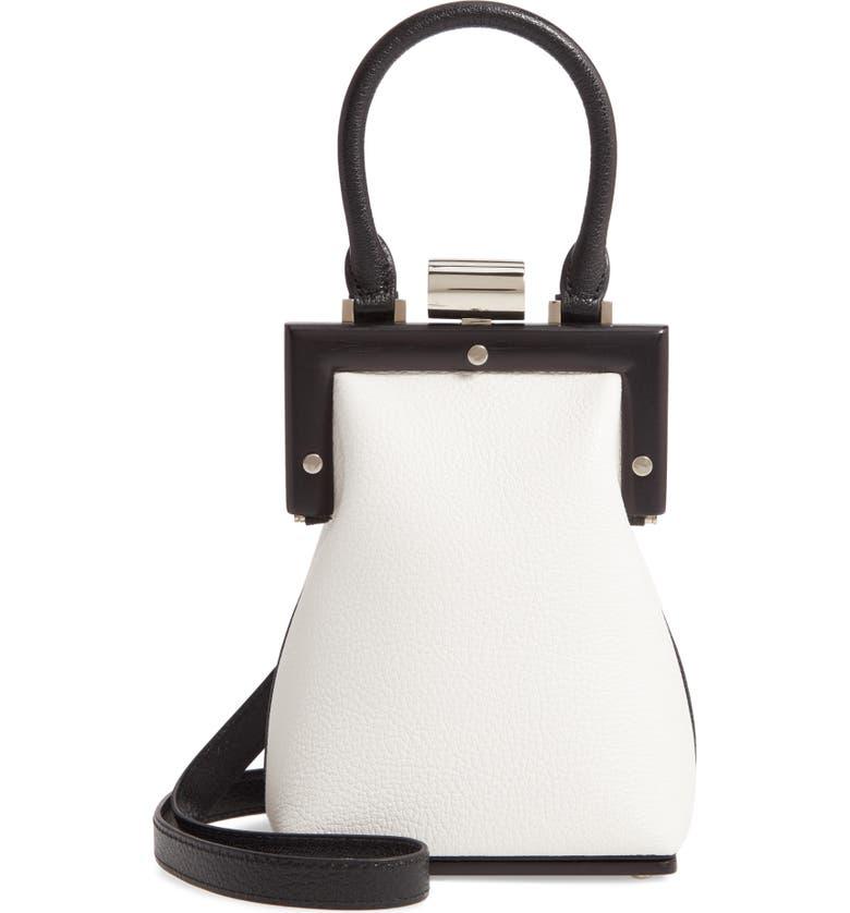PERRIN Le Mini Leather Top Handle Bag, Main, color, BLACK/ WHITE
