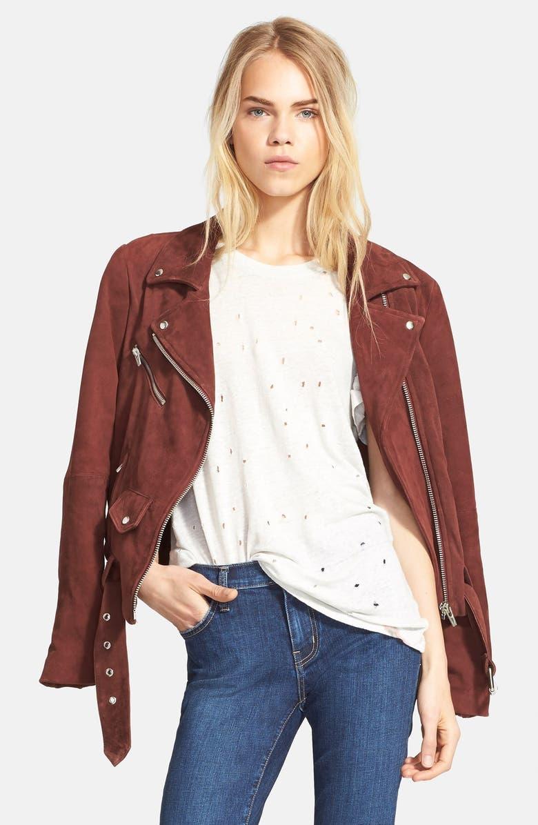 VEDA 'Jayne' Suede Moto Jacket, Main, color, 930