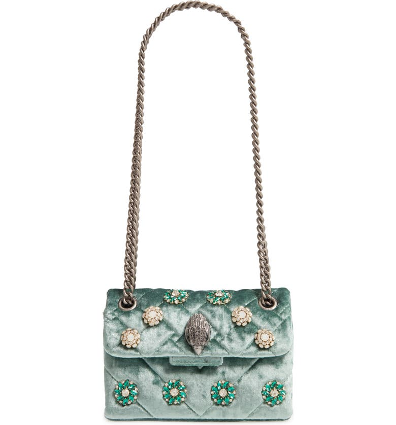 KURT GEIGER LONDON Mini Kensington Embellished Velvet Crossbody Bag, Main, color, PALE GREEN
