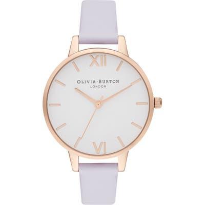 Olivia Burton White Dial Leather Strap Watch,