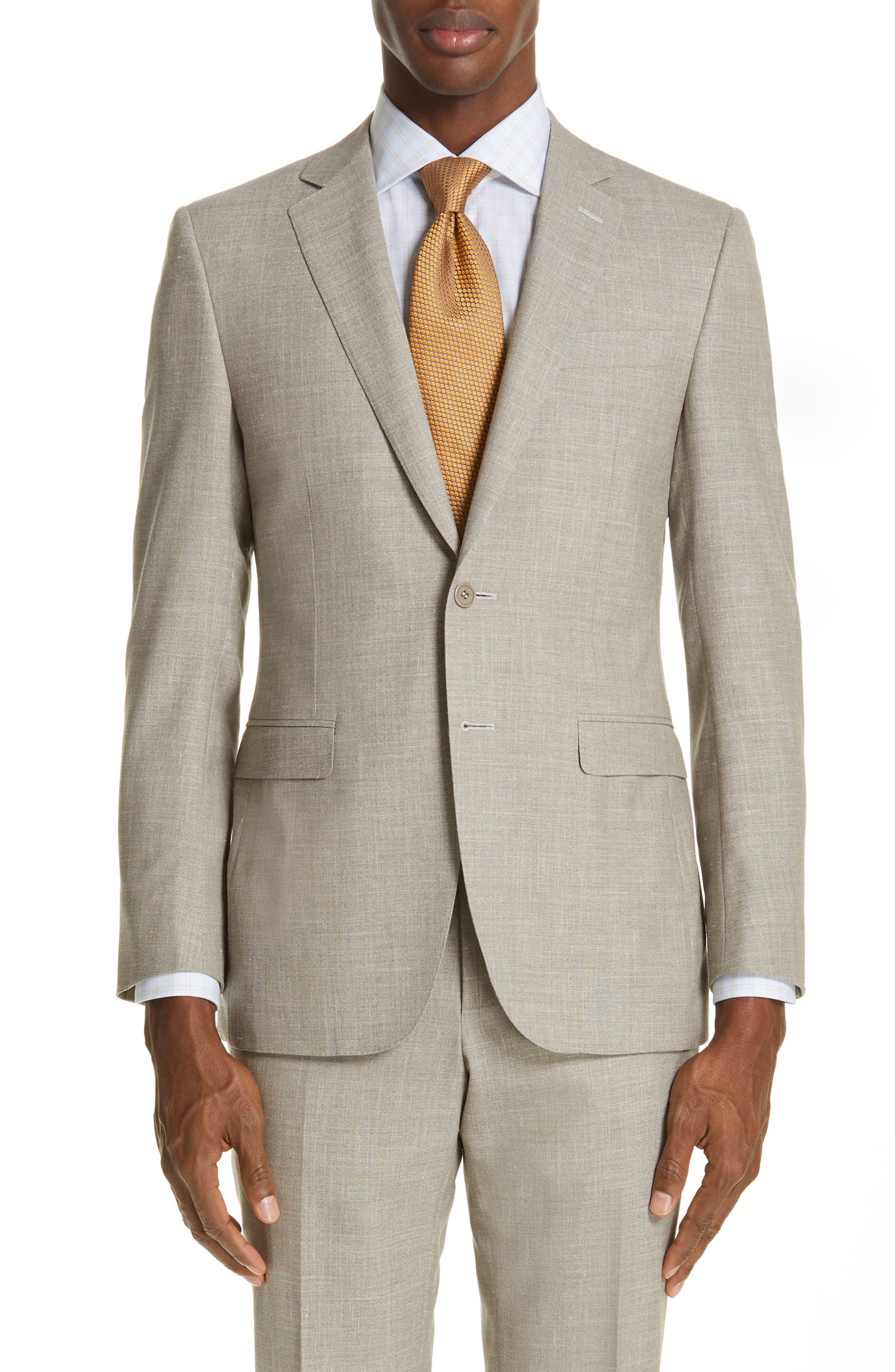 ,                             Milano Trim Fit Solid Wool Blend Suit,                             Alternate thumbnail 5, color,                             BEIGE