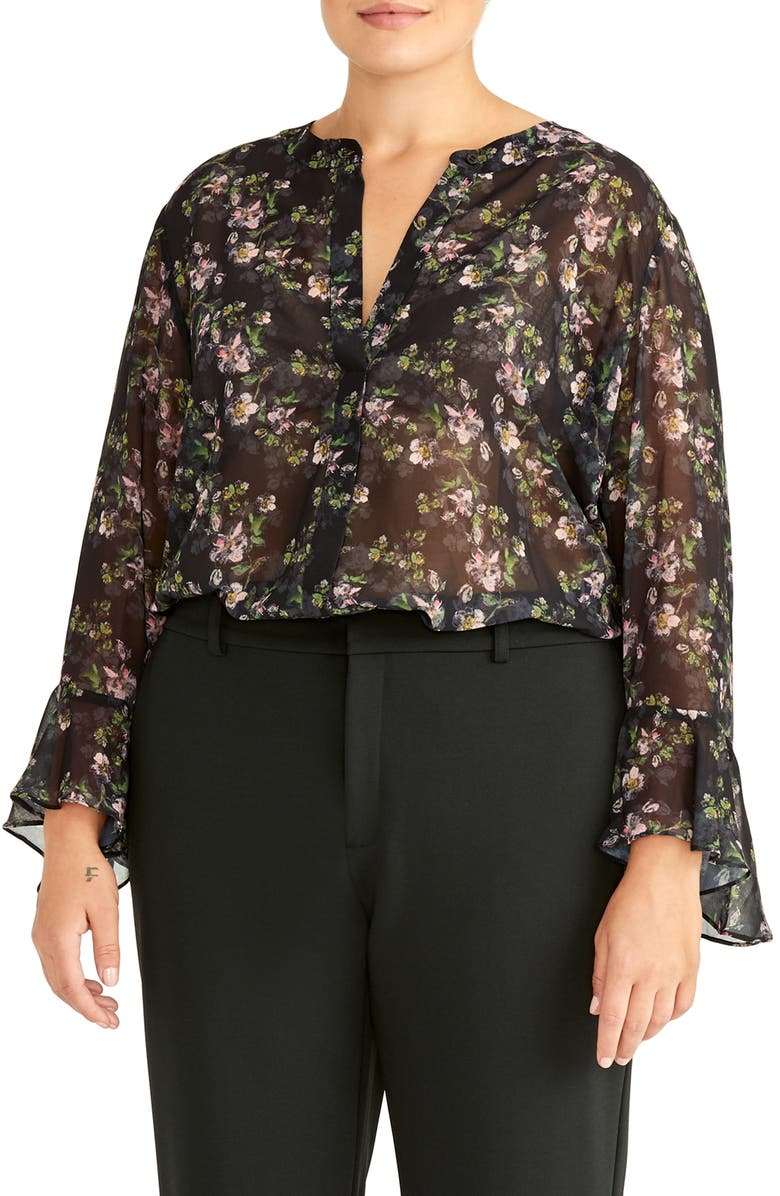 RACHEL ROY COLLECTION Ruffle Sleeve Blouse, Main, color, BLACK COMBO
