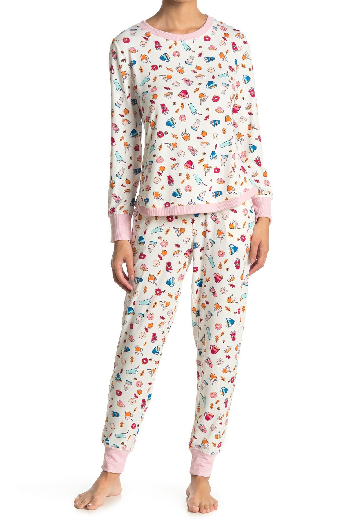Image of Jane & Bleecker New York Long Sleeve Top & Joggers 2-Piece Pajama Set