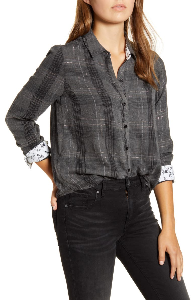 LUCKY BRAND Classic Plaid Contrast Button-Up Shirt, Main, color, CHARCOAL MULTI