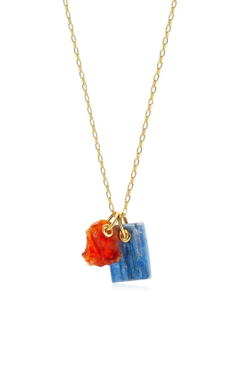 MONICA VINADER x Caroline Issa Double Gemstone Pendant Necklace, Main, color, YELLOW/ KYANITE/ CARNELIAN