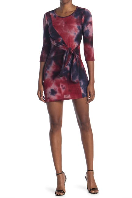 Image of BAILEY BLUE Tie Dye Printed Knot Front Dress
