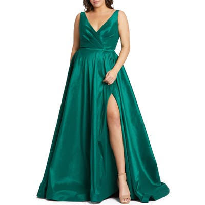 Plus Size MAC Duggal Ruched Taffeta Gown, Green