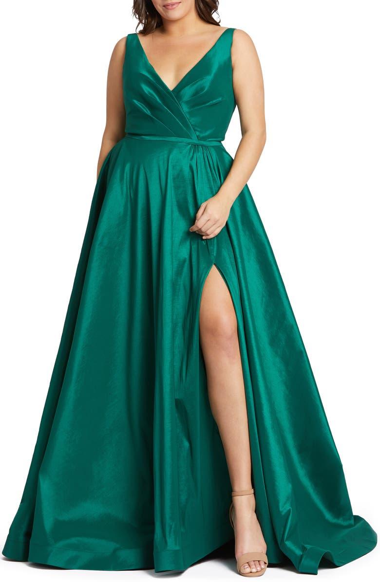 MAC DUGGAL Ruched Taffeta Gown, Main, color, 320
