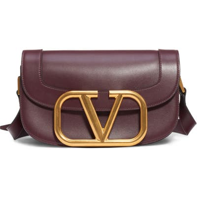 Valentino Garavani V-Logo Leather Shoulder Bag - Burgundy