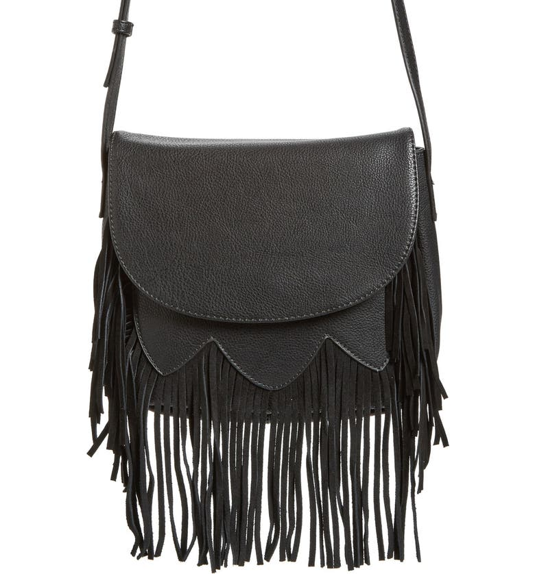 SOLE SOCIETY 'Kerry' Fringe Faux Leather Crossbody Bag, Main, color, 001