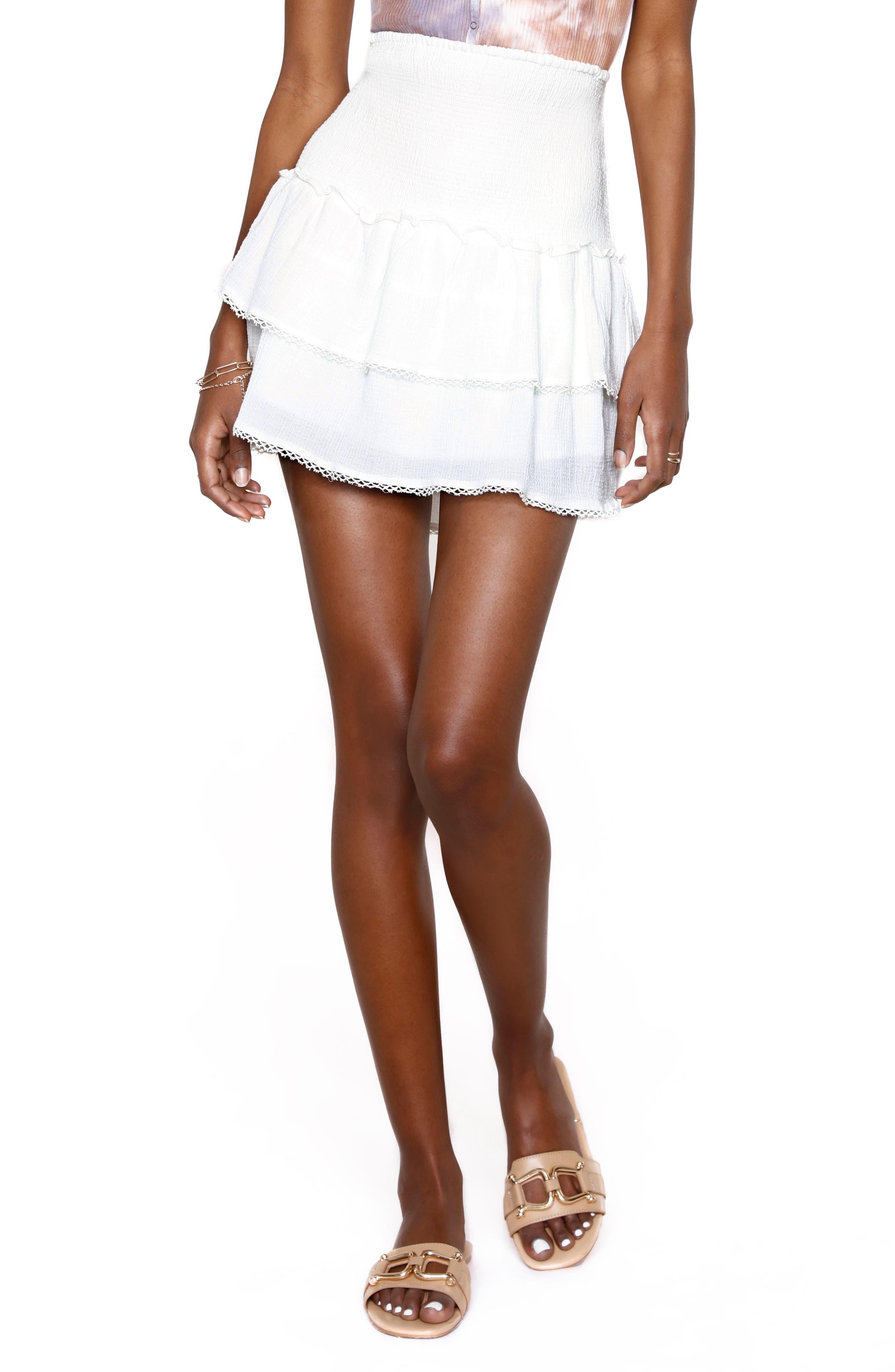 Alpine Smocked Ruffle Miniskirt