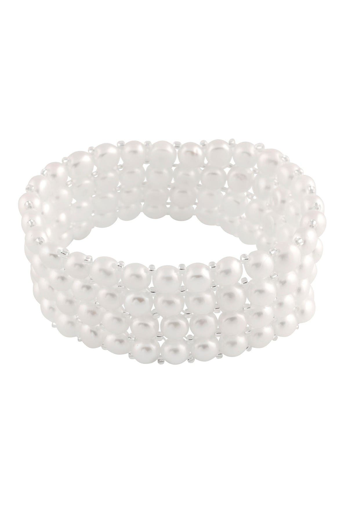 Image of Splendid Pearls 6-7mm Cultured White Freshwater Pearl Quad Row Elastic Bracelet