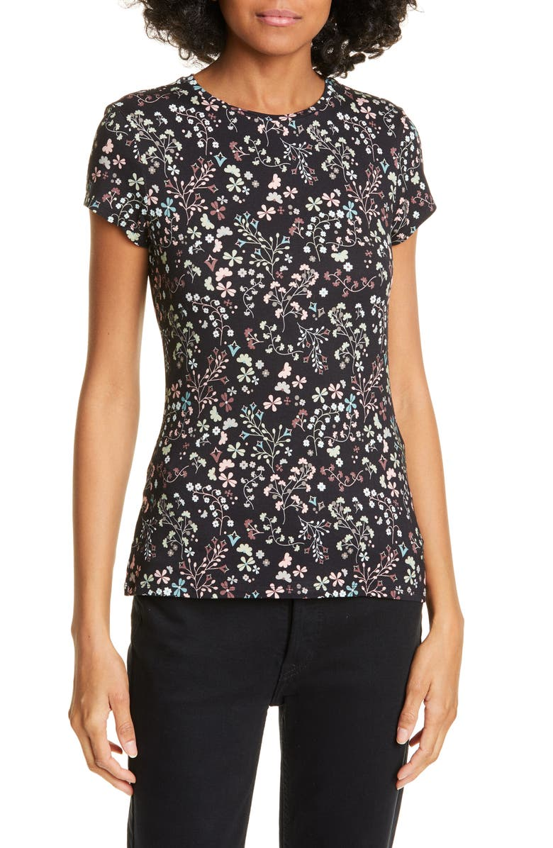 TED BAKER LONDON Popinya Hazel Fitted Tee, Main, color, BLACK