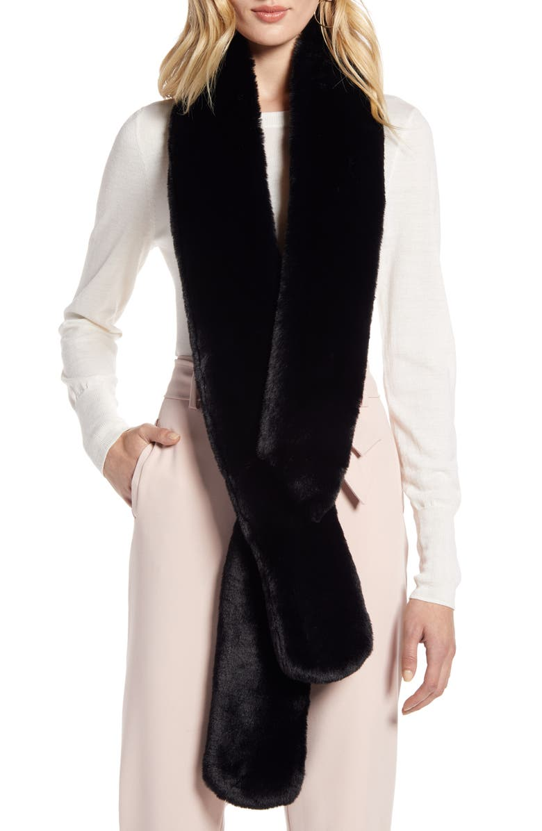 HALOGEN<SUP>®</SUP> Faux Fur Skinny Scarf, Main, color, BLACK